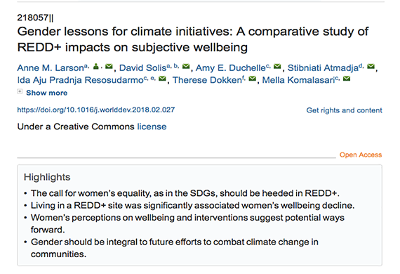 Gender lessons for climate initiatives: A comparative study of REDD+ impacts on subjective wellbeing