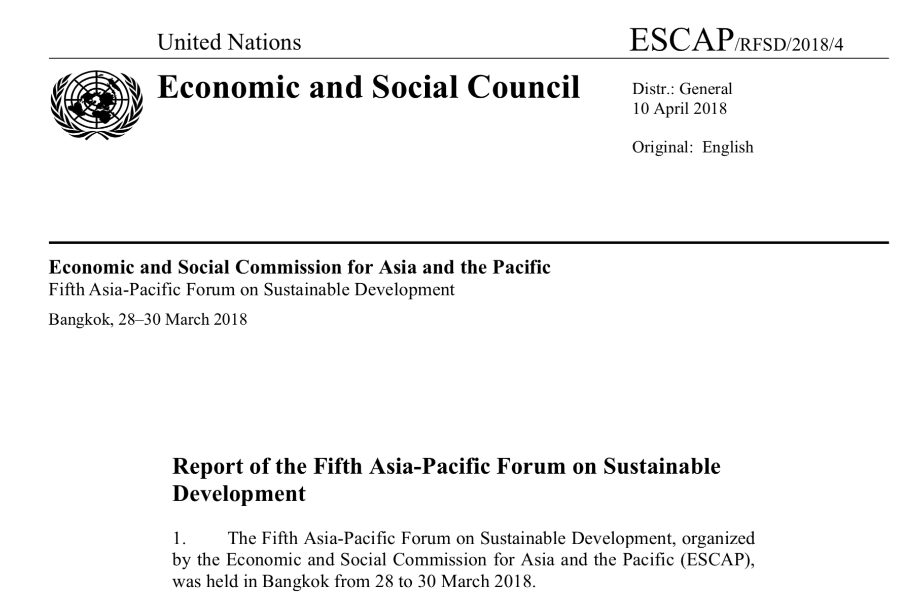 Report of the Fifth Asia-Pacific Forum on Sustainable Development