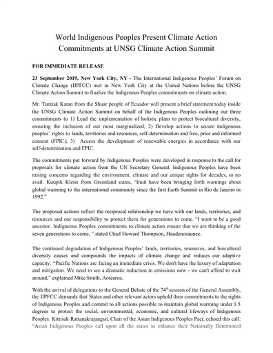 World Indigenous Peoples Climate Action Commitments Press Release