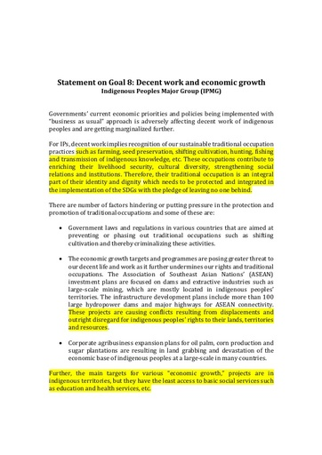 #HLPF2019 Statement on Goal 8: Decent work and economic growth