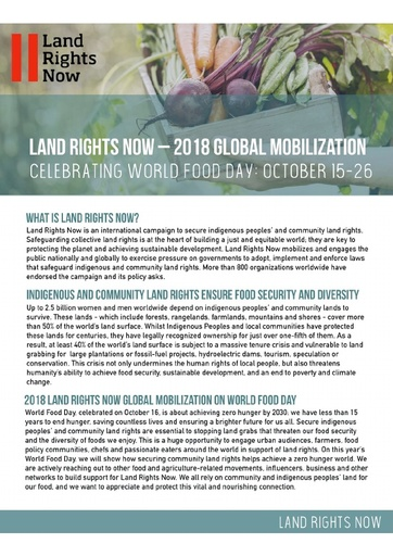 Land Rights Now - 2018 Global Mobilization | Celebrating World Food Day: October 15 - 26