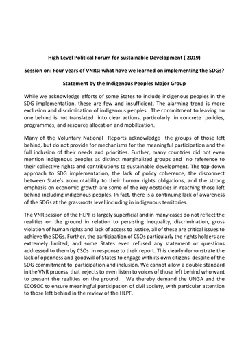 #HLPF2019: Session on: Four years of VNRs: what have we learned on implementing the SDGs?