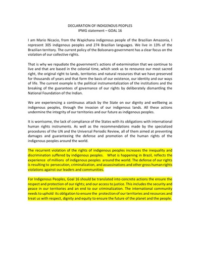 #HLPF2019: DECLARATION OF INDIGENOUS PEOPLES IPMG STATEMENT ON GOAL 16