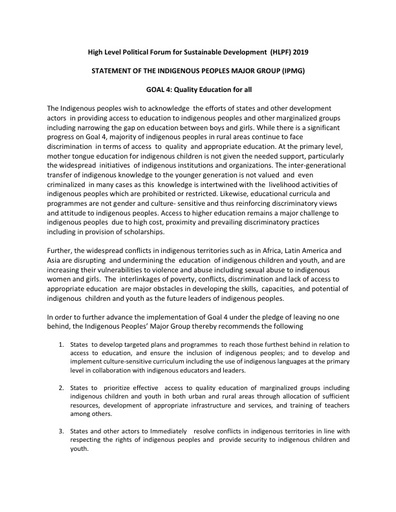 #HLPF2019 STATEMENT OF THE INDIGENOUS PEOPLES MAJOR GROUP | GOAL 4: Quality Education for all